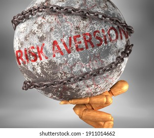 Risk aversion and hardship in life - pictured by word Risk aversion as a heavy weight on shoulders to symbolize Risk aversion as a burden, 3d illustration