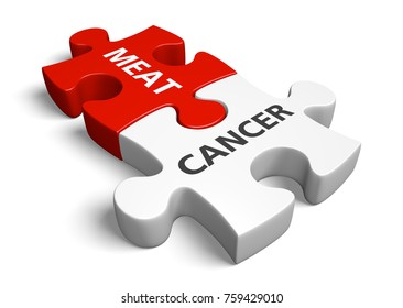 Risk of cancer from eating red meat, processed meat, and other animal products, 3D rendering