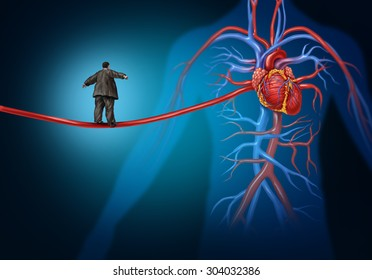 Risk factors for heart disease danger as a medical health care concept with an overweight person walking on a long artery highwire as a symbol for coronary illness hazard or high blood pressure.