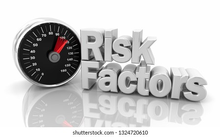 Risk Factors Speedometer Danger Words 3d Illustration