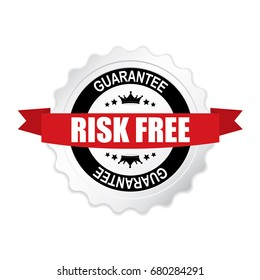 Risk free round silver badge with red ribbon.