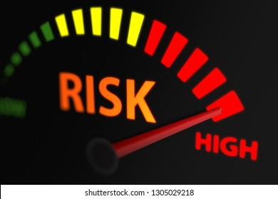 Risk Indicator, Risk Level to Maximum. 3D illustration