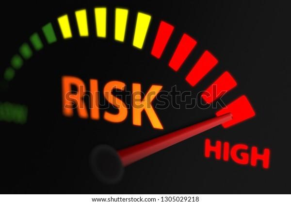 Risk Indicator, Risk Level to Maximum. 3D illustration