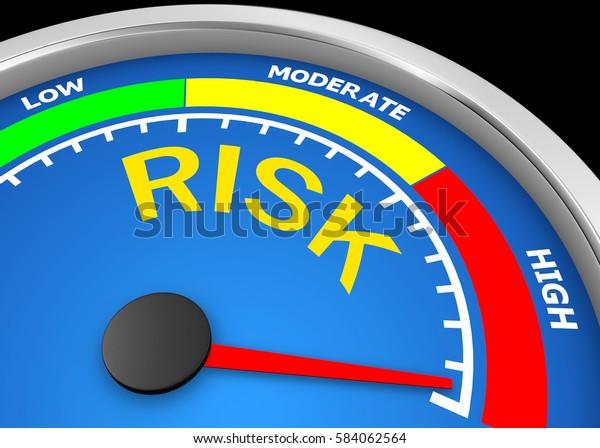 risk level to maximum conceptual meter, 3d rendering