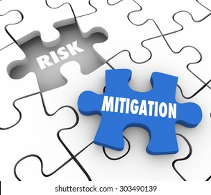 Risk Mitigation words on puzzle pieces to illustrate reducing problems, trouble, dangers or hazards and increase security and protection from harm