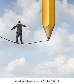 Risk planning and leadership solutions as a businessman walking on a tight rope and a pencil drawing a future path for the road ahead as a business concept of adapting to change for success.