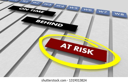 At Risk Projects Tasks Schedule Timeline Gantt Chart 3d Illustration