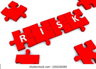 RISK puzzle white background concept 3D illustration