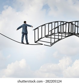Risk reduction concept as a businessman on a tightrope walking on a wire that becomes shaped as a safe three dimensional bridge as a symbol of increased security and controlling uncertainty.