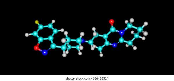 Risperidone is an antipsychotic medication. It is mainly used to treat schizophrenia, bipolar disorder, and irritability in people with autism. 3d illustration
