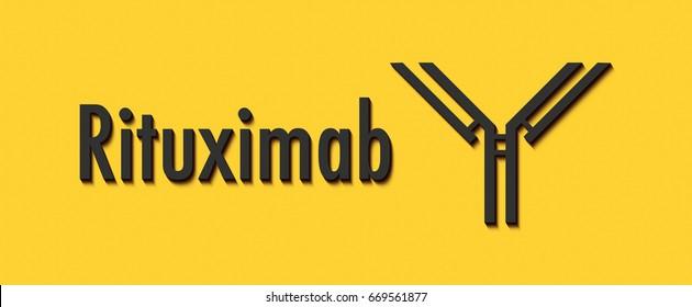 Rituximab monoclonal antibody drug. Targets CD20 on B-lymphocytes. Indications for use indicate rheumatoid arthritis and a number of leukemias and lymphomas. Generic name and stylized antibody.
