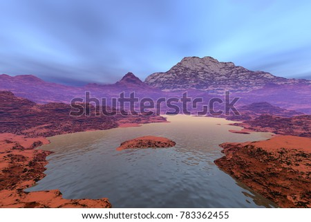 River, 3D rendering,, a deserted landscape, mountains and rocks and a blue sky.