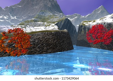 River in the canyon, 3d rendering, an autumn landscape, beautiful trees, wonderful waters and mountains in the background.