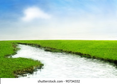 River in the field