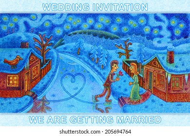 The river has frozen and a groom arrived for a bride on skates - cartoon illustration with a crayon - wedding invitation.