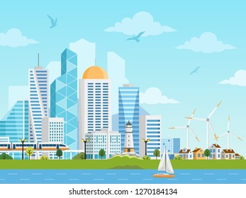 River side landscape with skyscrapers, private houses, subway, boat and windmills. City and suburb illustration