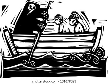 River Styx ferryman taking people to the afterlife