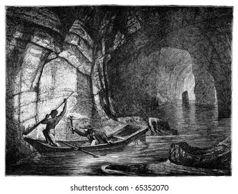 "River Styx in the Mammoth Cave. Illustration originally published in Hesse-Wartegg's ""Nord Amerika"", swedish edition published in 1880.  The image is currently in public domain by the virtue of age."
