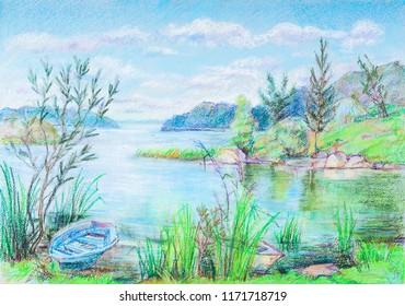 "river ""Volga"" in summer sunny day"