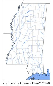 Rivers of Mississippi map