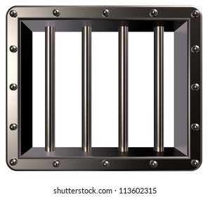 riveted metal prison window - 3d illustration