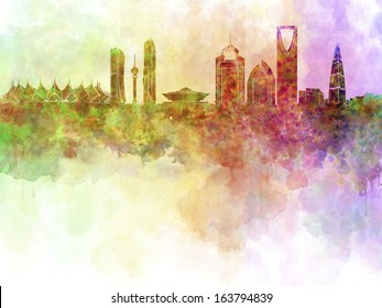 Riyadh skyline in watercolor background with clipping path