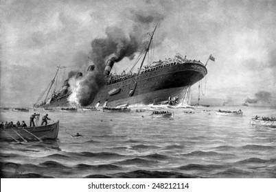 RMS Lusitania torpedoed by a German submarine on May 7, 1915.