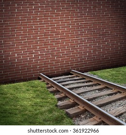 Road block or roadblock concept as a closed brick wall barricade blocking a train track as a business or life  closed metaphor for restriction or embargo symbol.