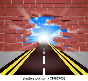 A road breaking through a brick wall, concept for opportunity