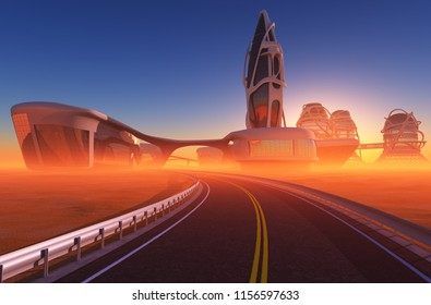 Road to the city. ,3d render