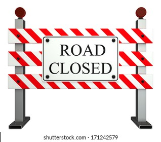 Road Closed Sign. isolated white background. 3d