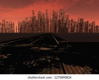Road to dead city. Red sky horizon. 3D rendering