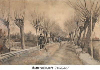 Road in Etten, by Vincent Van Gogh, 1881, Dutch Post-Impressionist drawing. This work was created during van Goghs first year as an artist when he was 28 years old. It was made with chalk, pencil, pas