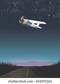 A road in the evening, in the sky is a small light aircraft.