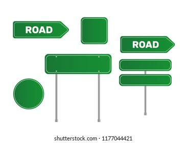 Road grenn sign. Sign street. Arrow blank sign