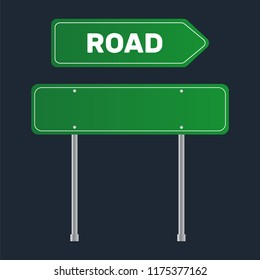 Road grenn sign. Template street sign for a text