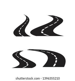 Road icons set, isolated on white background,