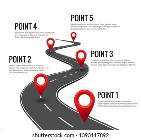 Road infographic. Curved road timeline with red pins checkpoint. Strategy journey highway with milestones concept