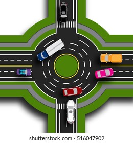 Road infographics. Top view 3d. Road interchange, roundabouts. This shows the movement of cars. Sidewalks and crossings. Raster illustration