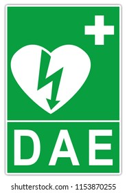 Road international sign: Station of an automated external defibrillator (AED) - green sign