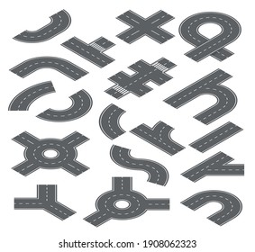 Road isometric elements. Traffic streets, auto roads and highway for city map navigation. Speedway, crossroad and footpath set