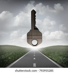 Road key to success concept as a path to succeed with a solution goal ahead as a surreal business or life metaphor for answers as a 3D illustration.