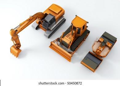 Road machinery on grey background. Top view
