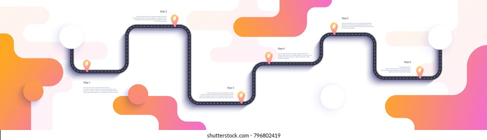 Road map and journey route infographics template. Winding road timeline flat illustration