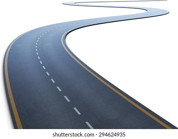 The road with a marking going to a distance on a white. 3d illustration.