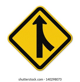 Road Merge Sign on white