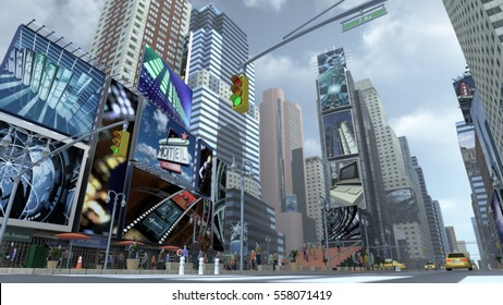 Road on Time Square New York Manhattan. The images on the screens on the background are illustrations from our own database. 3D rendering