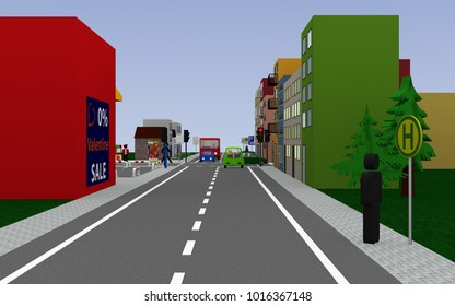 Road with red traffic light and signs, stop, school bus stop with german text: Schullbus weekdays, parekn allowed on the walkway, and end zone 20. 3d rendering