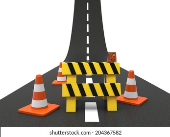 Road with roadblock isolated on white background