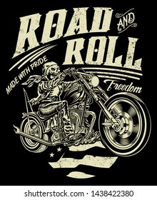 road and roll freedom, All elements, colors, text (curved) are on the separate layer and easy editable. - Vector
